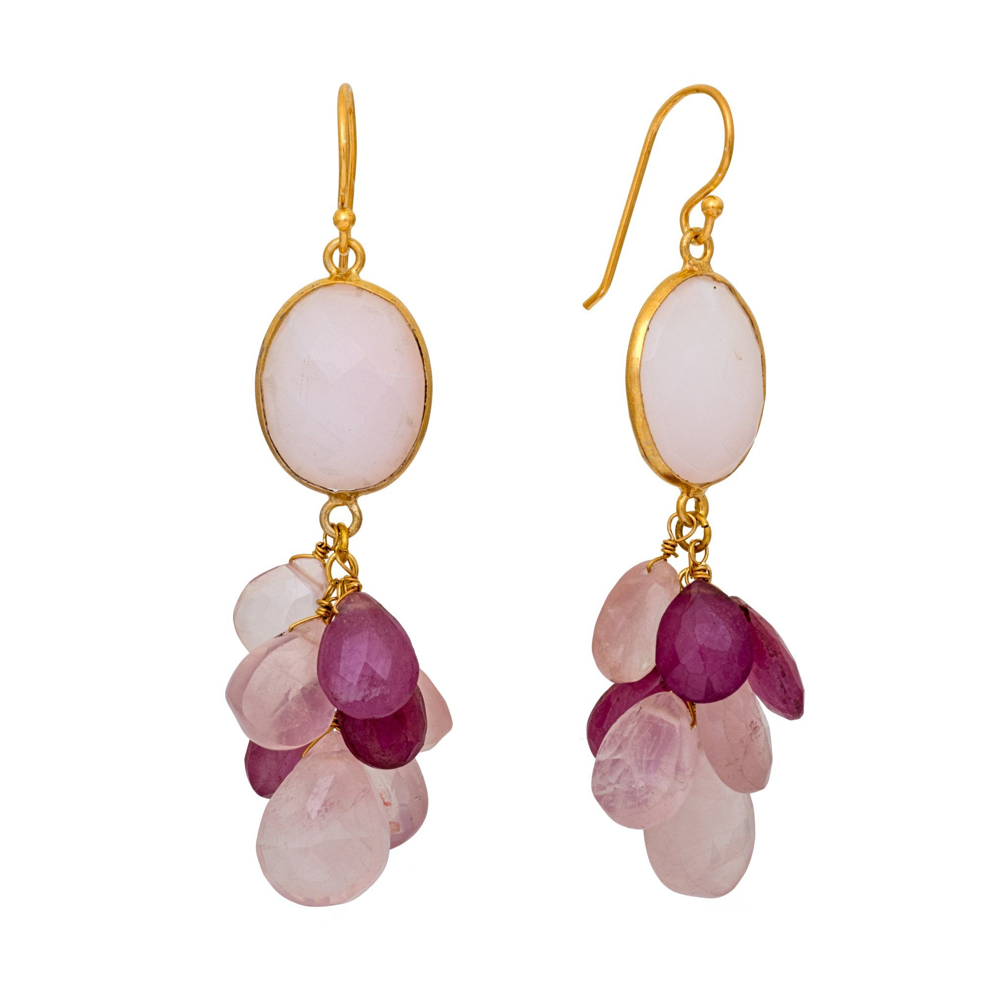 LUZ rose quartz cluster earrings - MadamSiam