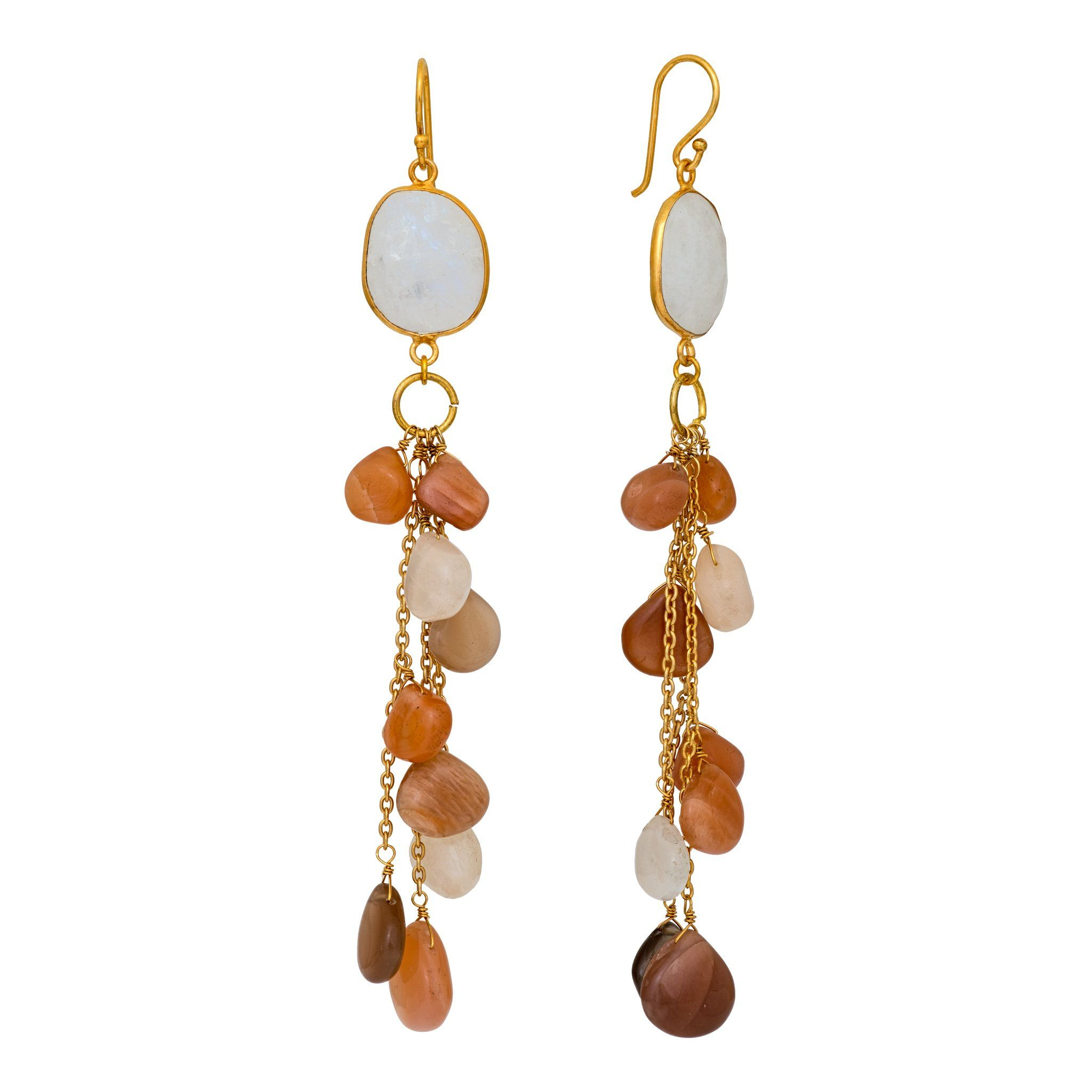 LUZ mix of peach moonstone cluster long earrings - MadamSiam