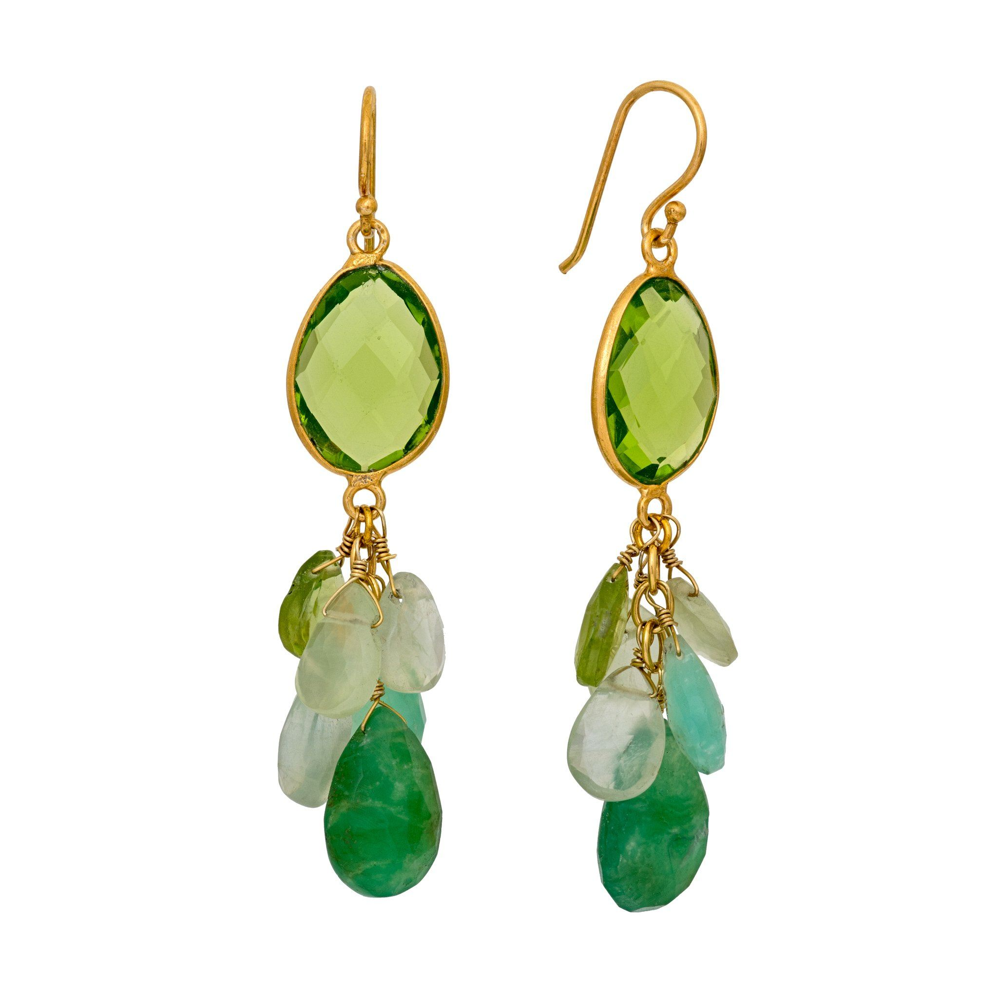 LUZ peridot cluster earrings - MadamSiam