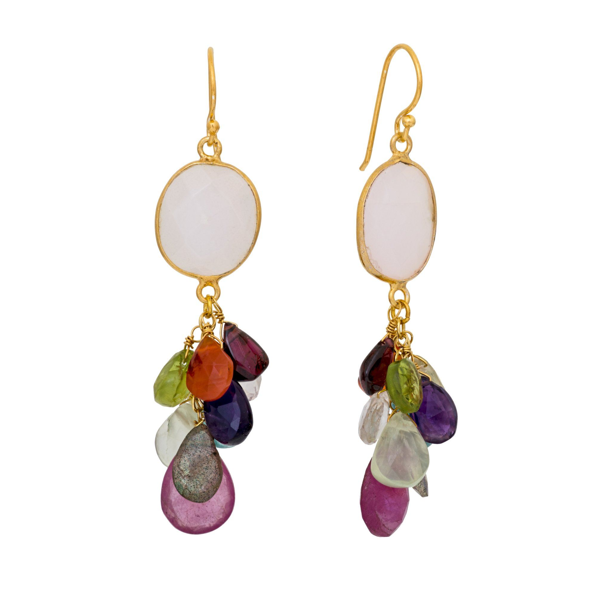 LUZ mix of summer quartz cluster earrings - MadamSiam