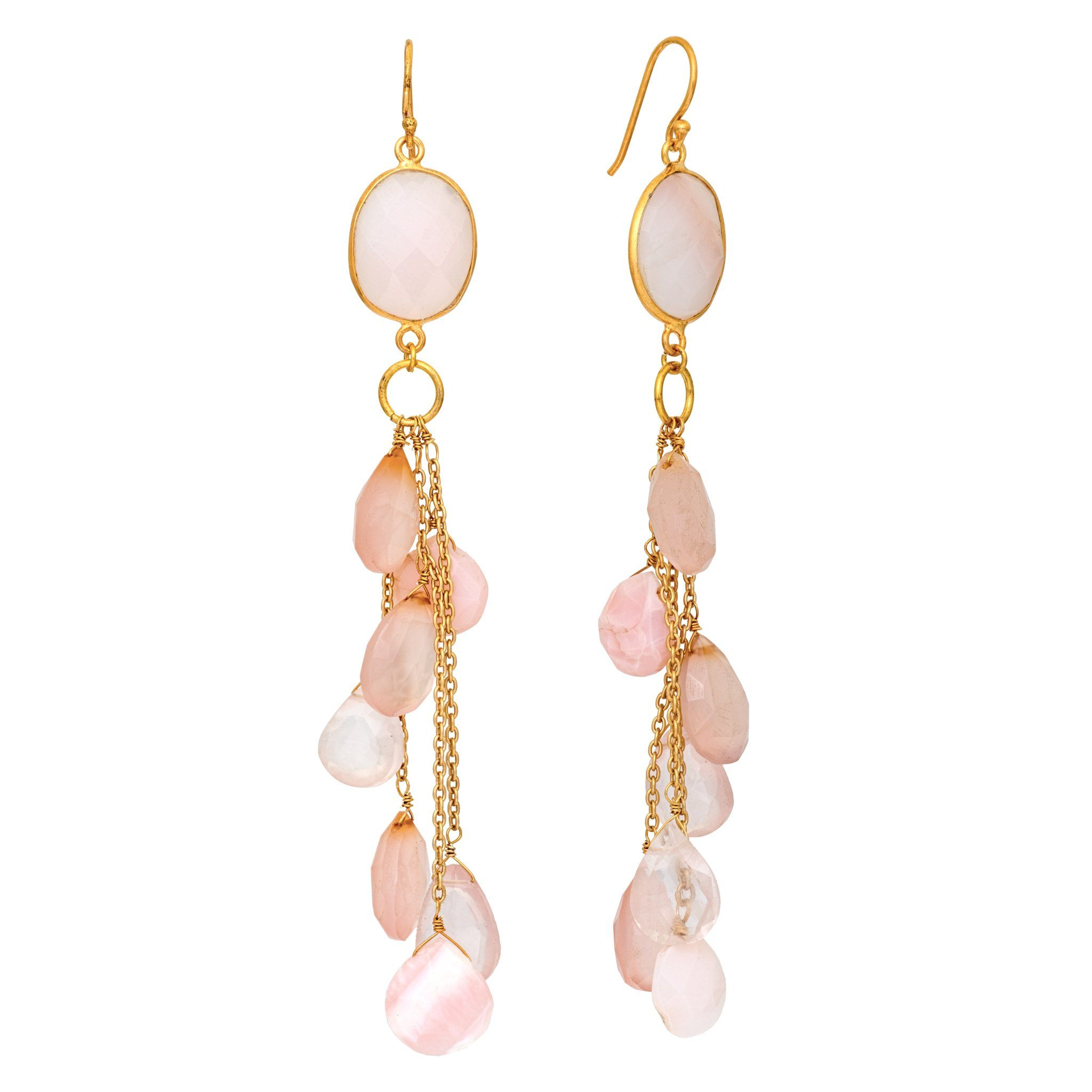 LUZ rose quartz cluster long earrings