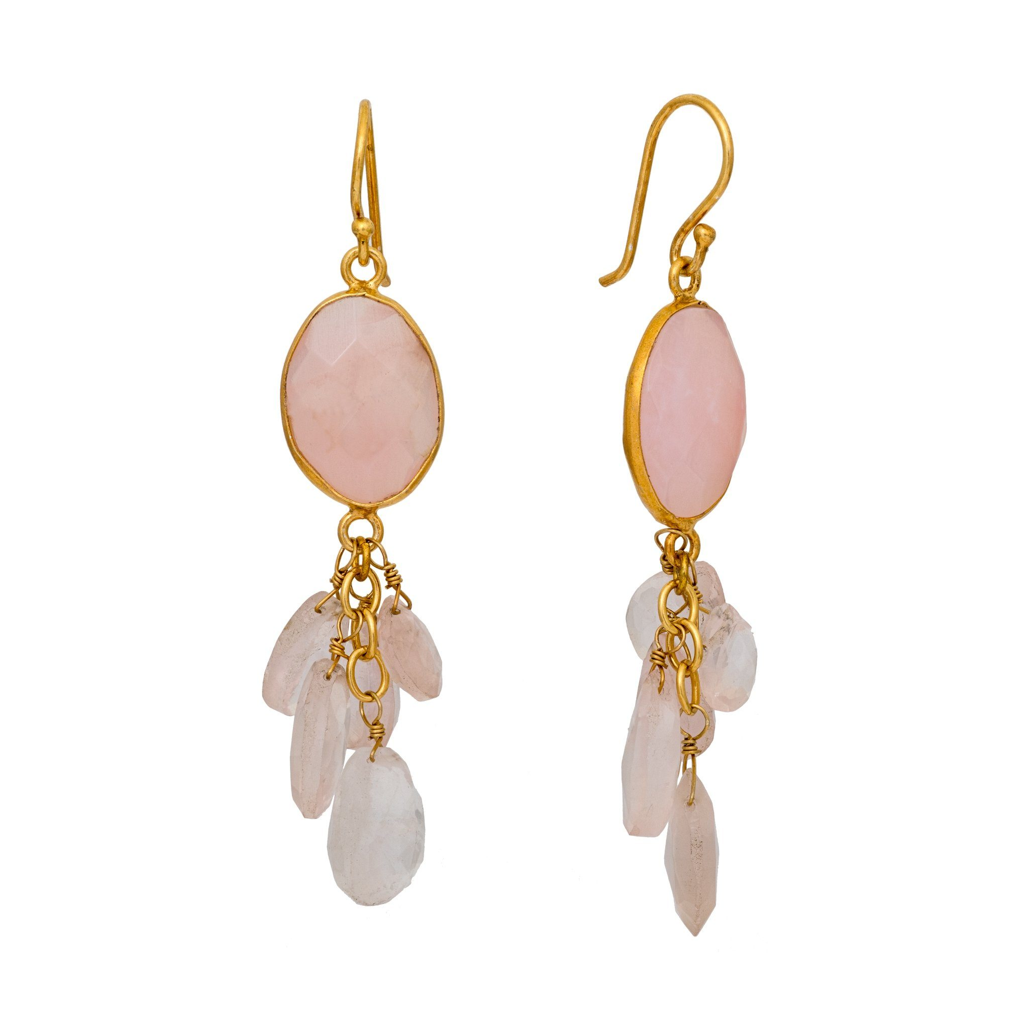 LUZ mix of rose quartz cluster earrings - MadamSiam