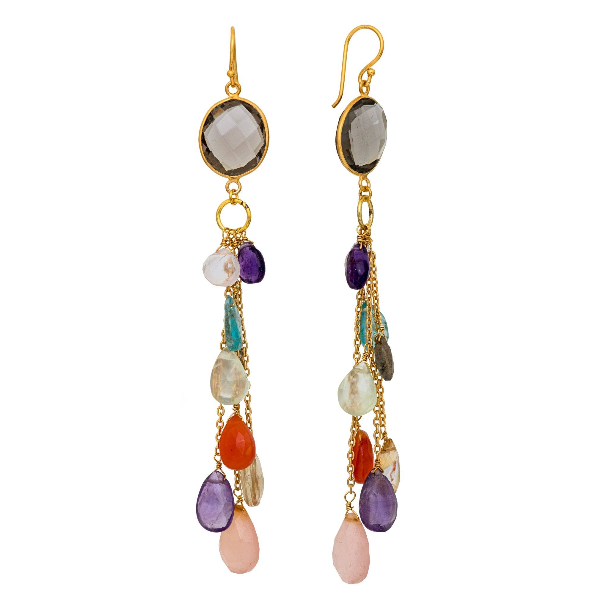 LUZ mix of quartz cluster long earrings
