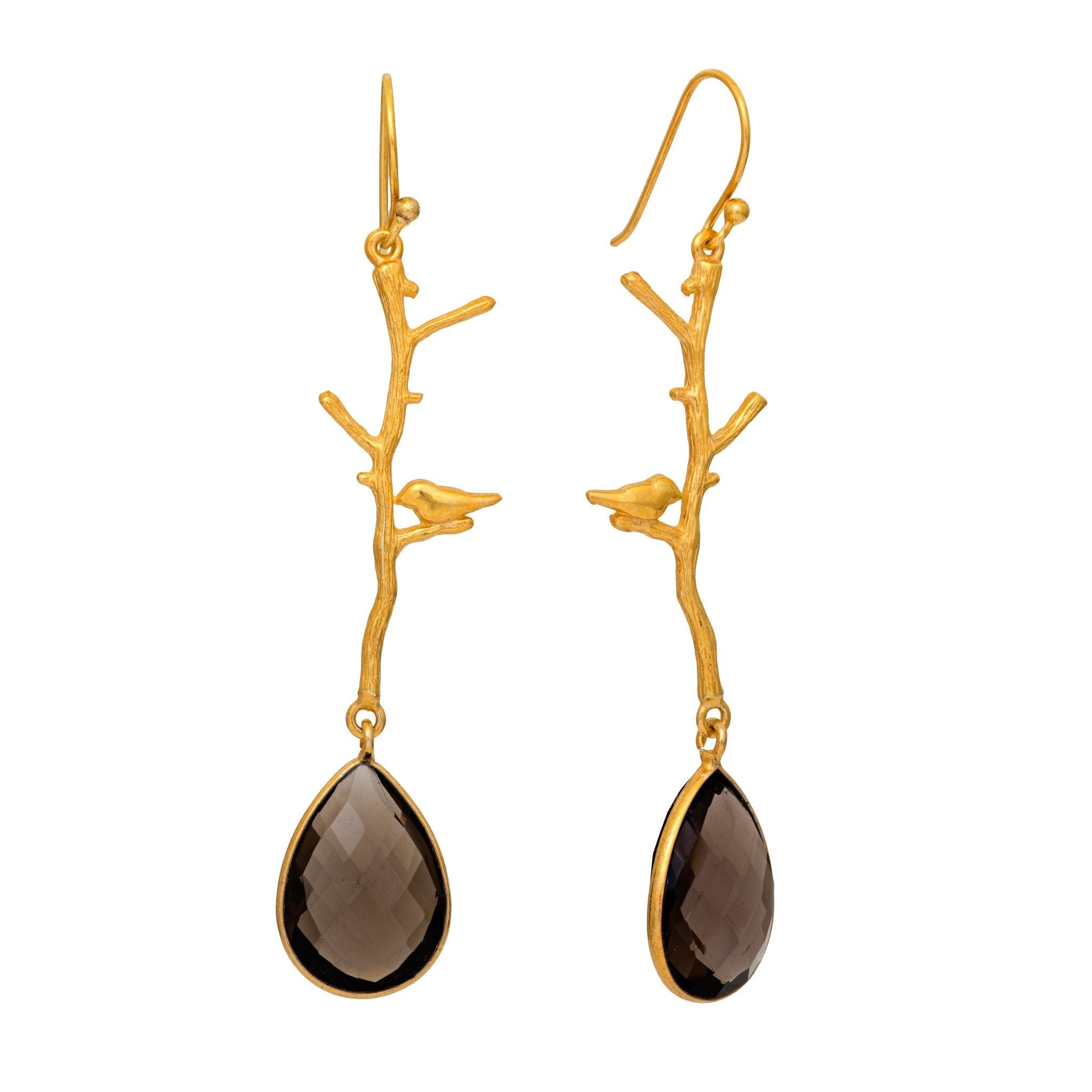 NOK smoky quartz earrings - MadamSiam