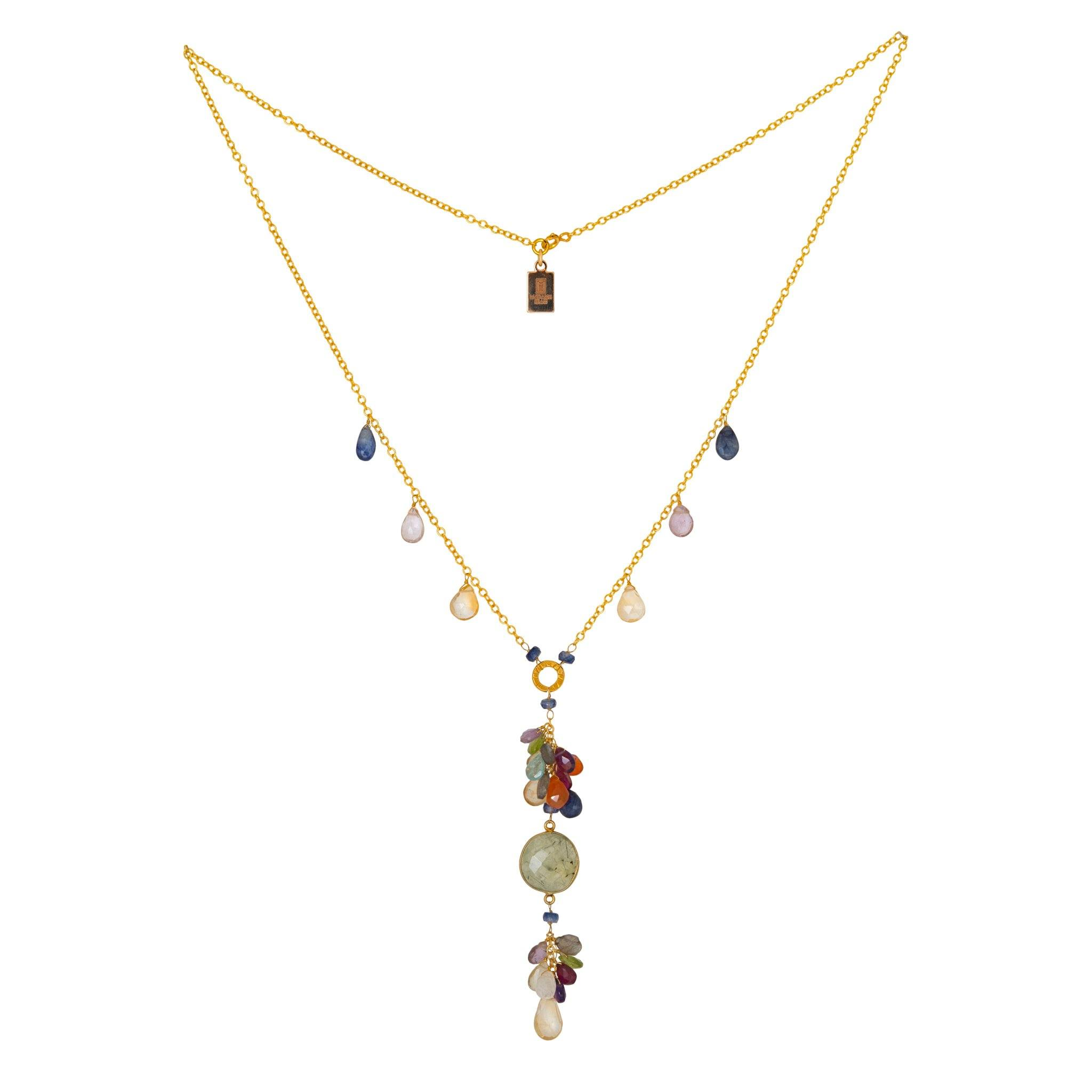 ROSA prehnite necklace with drops - MadamSiam