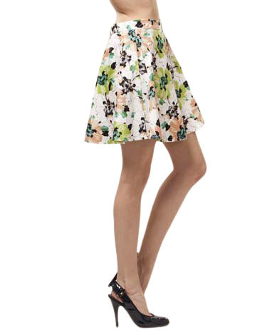 Abstract Floral A-Line Skirt