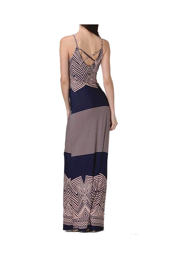 Pink And Navy Graphic Maxi Dress