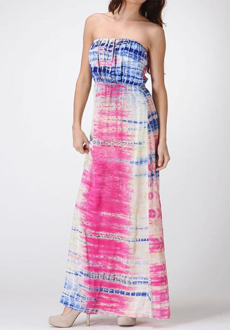 Hot Pink Tie Dye Maxi Dress