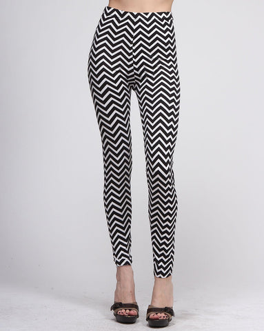 Black And White Zigzag Leggings