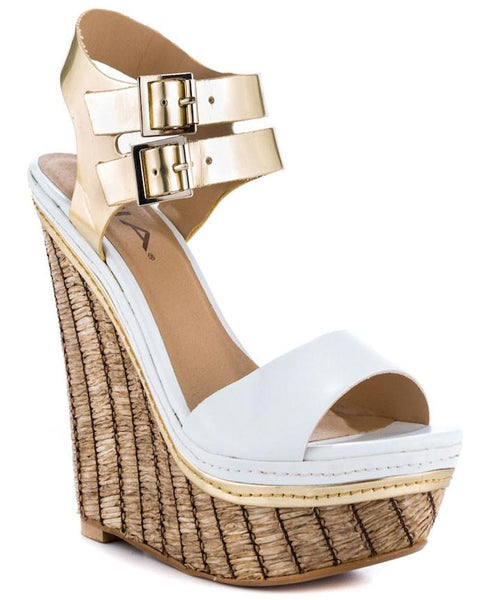 Strut Platform Wedge Sandals