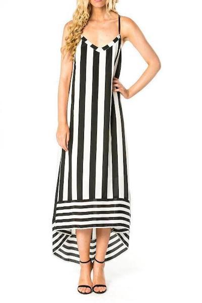 Striped High-Low Dress With Crossed Straps