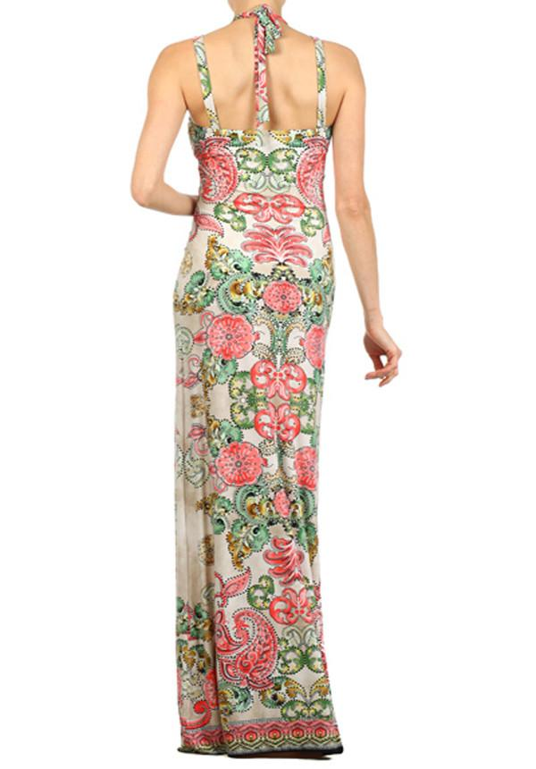 Pink Paisley Gold Ring Maxi Dress