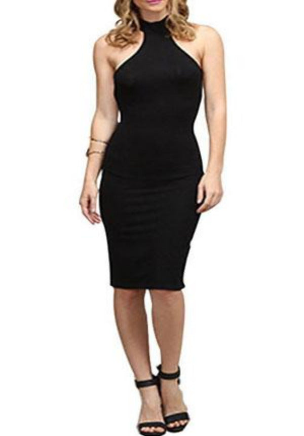 Basic Black Halter Jersey Dress