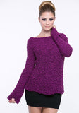 Cozy Boatneck Popcorn Knit Sweater