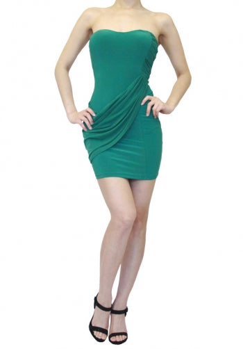 Dark Green Ruched Mini Cocktail Dress