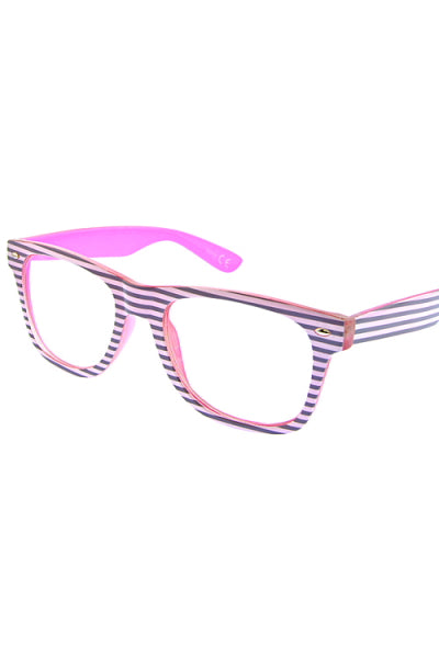Candy Stripes Clear Lense Glasses