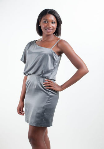 One Shoulder Strap Silky Dress