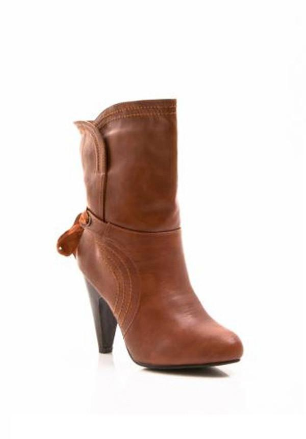 Self Tie Rear Ribboned Heeled Booties
