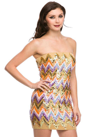 Sequin Tribal Tube Dress
