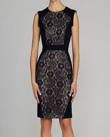 Lace It On Me Navy Blue Sheath Dress
