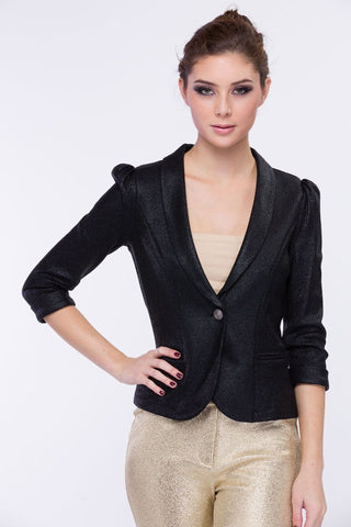 Yours Truly Black Single Button Blazer