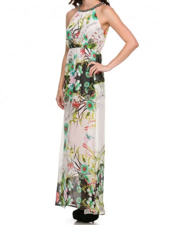 Bejeweled Neckline Tropical Print Maxi Dress