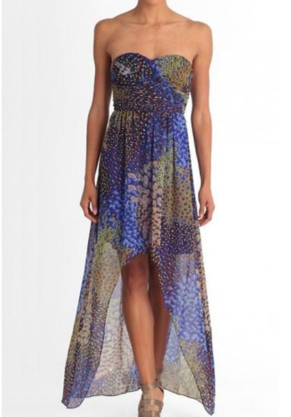 Chloe High-Low Peacock Print Dress