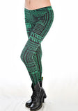 Electric Green Chevron Leggings