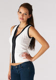 Colorblock Bandage Vest With Front Zipper