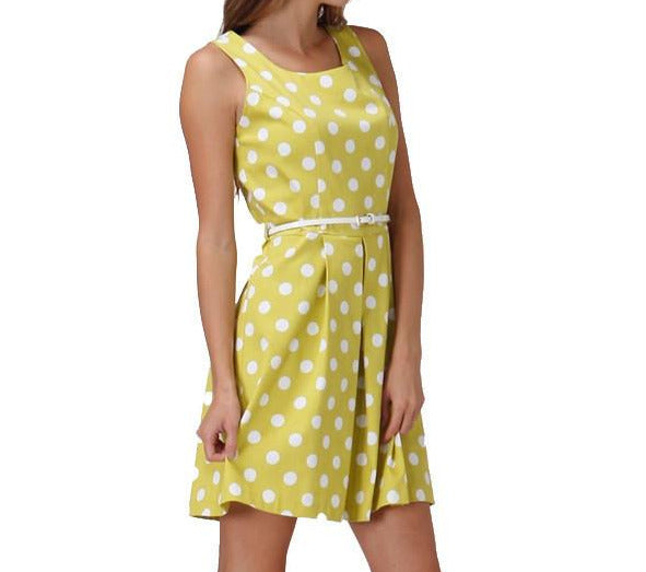 Lime Garden Party Polka Dot Dress With Belt