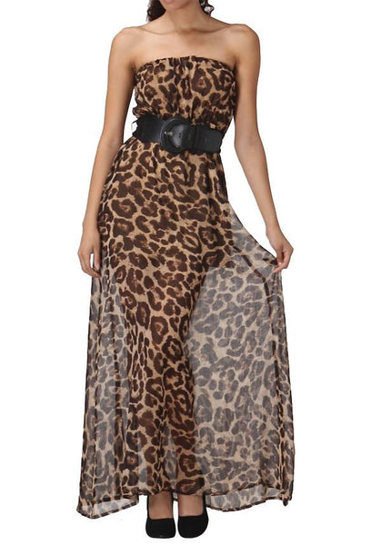 Leopard Print Strapless Maxi Dress With Belt