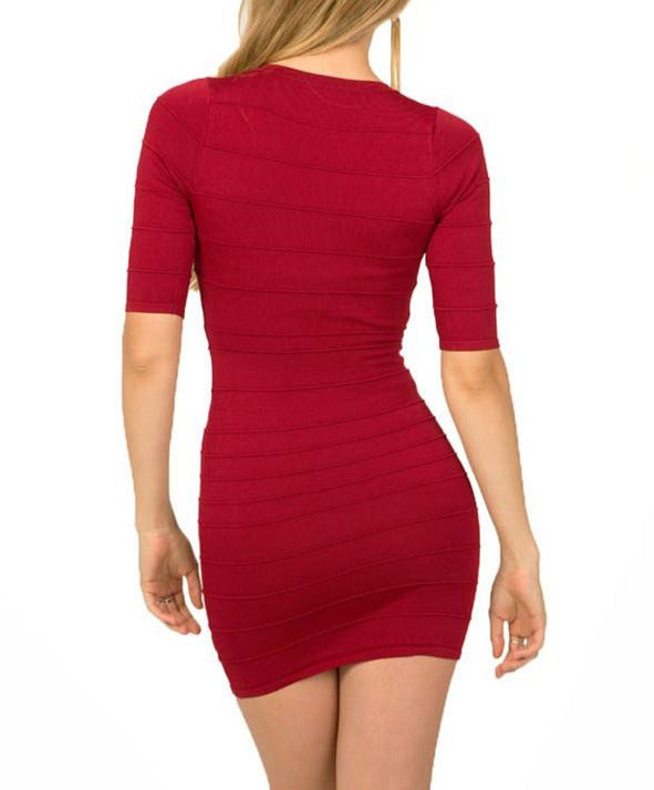 Red Peekaboo Mesh Bandage Dress