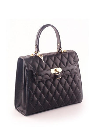 Black Quilted Fold-Over Bag
