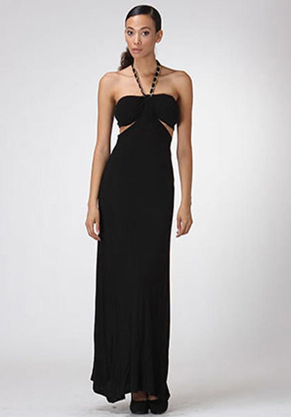 Black Halter Bandeau Maxi Dress