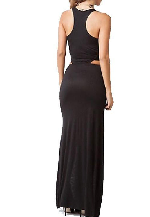 Black Cut-Out Double Slit Maxi Dress