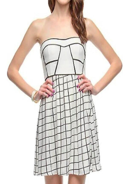 Check Print Strapless Dress