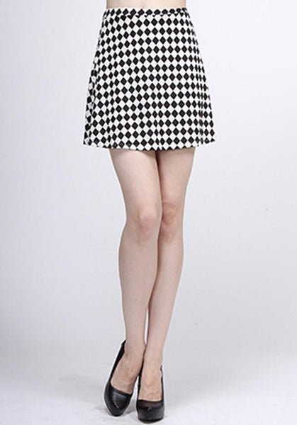 Black And White Checkered A-Line Skirt