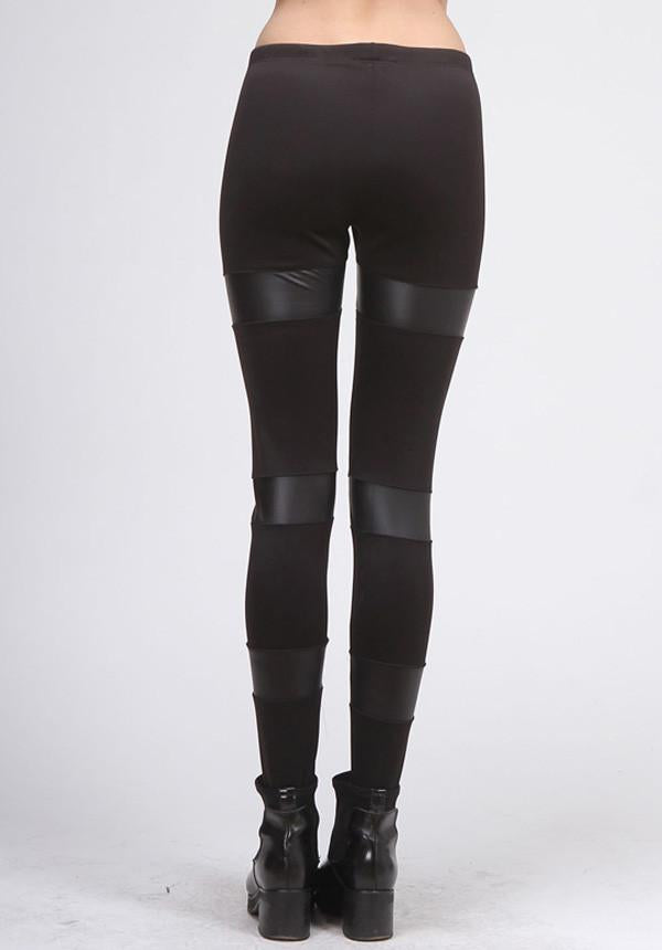 Black Faux Leather Striped Leggings