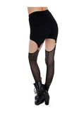 Black Garter Footless Leggings
