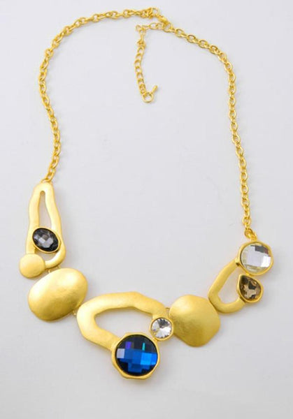 Gold Abstract Circles Statement Necklace