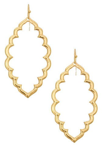 Gold Tone Open Leaf Earrings
