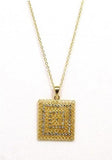 Square Rhinestone Pendant Necklace