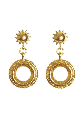 Sun And Circle Earrings