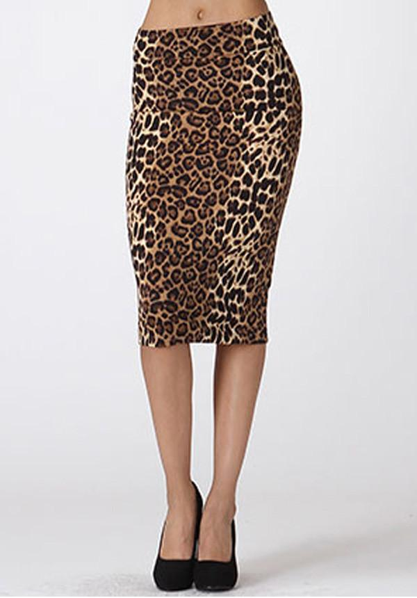 Leopard Pencil Midi Skirt