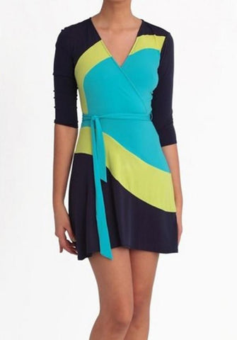 Clarissa Color Block Faux Wrap Dress