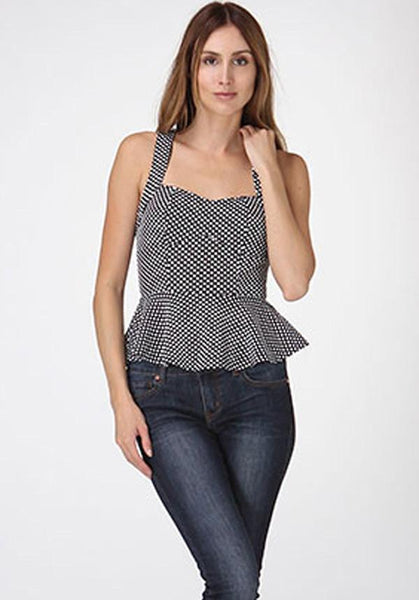 Polka Dot Peplum Cut-Out Top