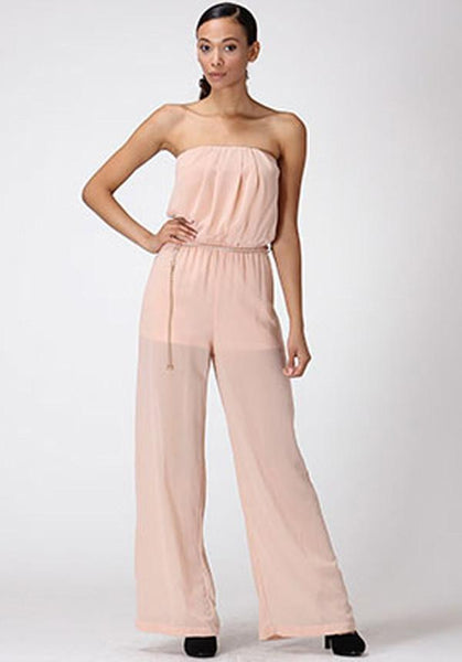 Sheer Pink Jumpsuit With Chain Belt