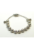 Silver Tone Brushed Bead Adjustable Bracelet