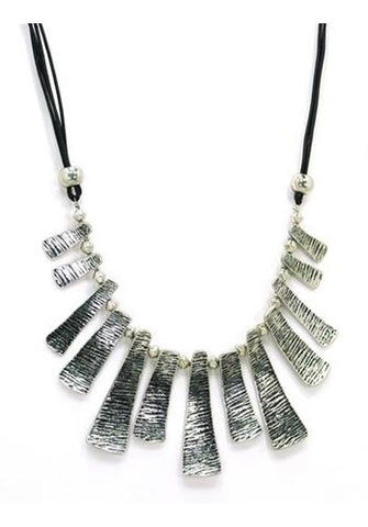 Silver Tone Brushed Plate Necklace
