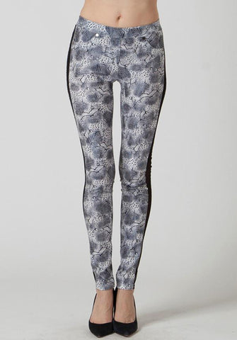 Snake Print Sheer Panel Leggings